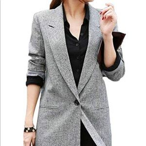 Vntg Tribal Longline Gray Blazer w shoulder pads